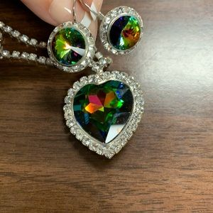 Jewelry - Faux diamonds & mystic topaz necklace & earrings